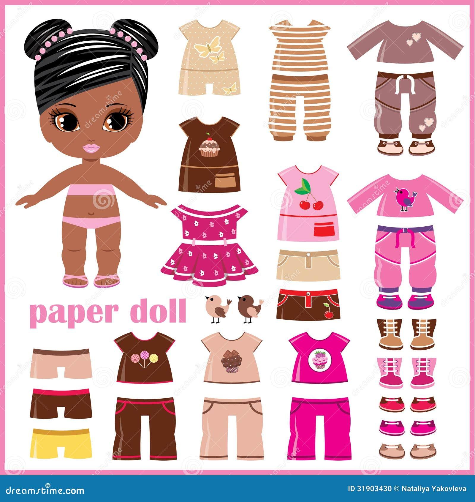 Pappers- docka med kläderuppsättningen