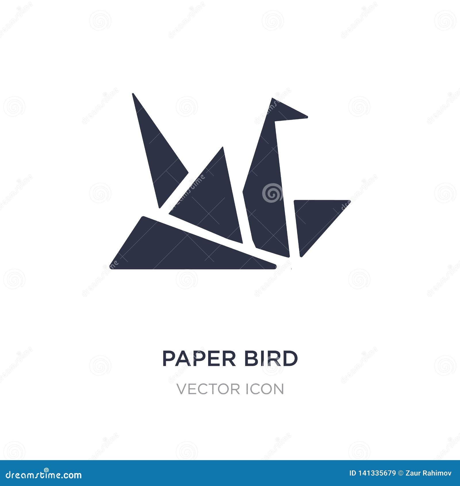 Pappers- fågelsymbol på vit bakgrund Enkel beståndsdelillustration från UI-begrepp