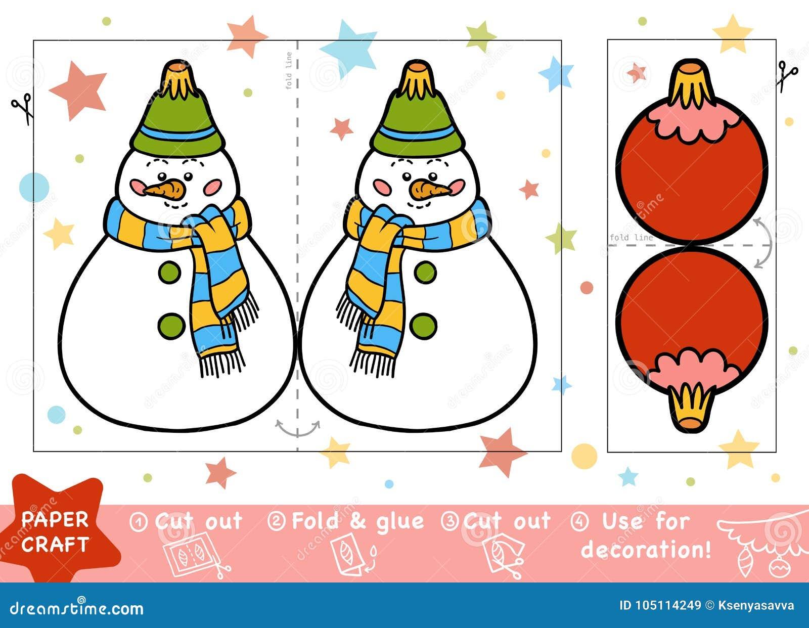 Pappers- hantverk för barn, snögubbe och jul klumpa ihop sig