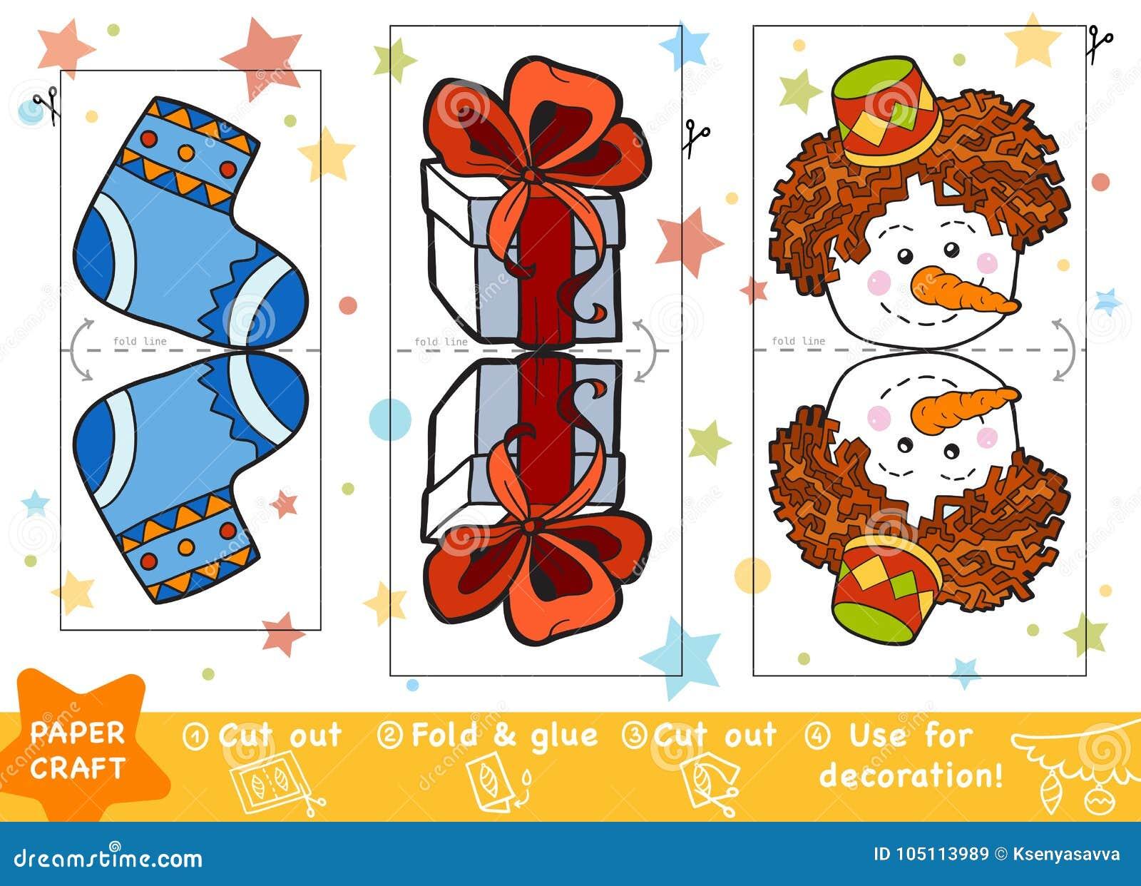 Pappers- hantverk för utbildning för barn, jul gåva och snögubbe