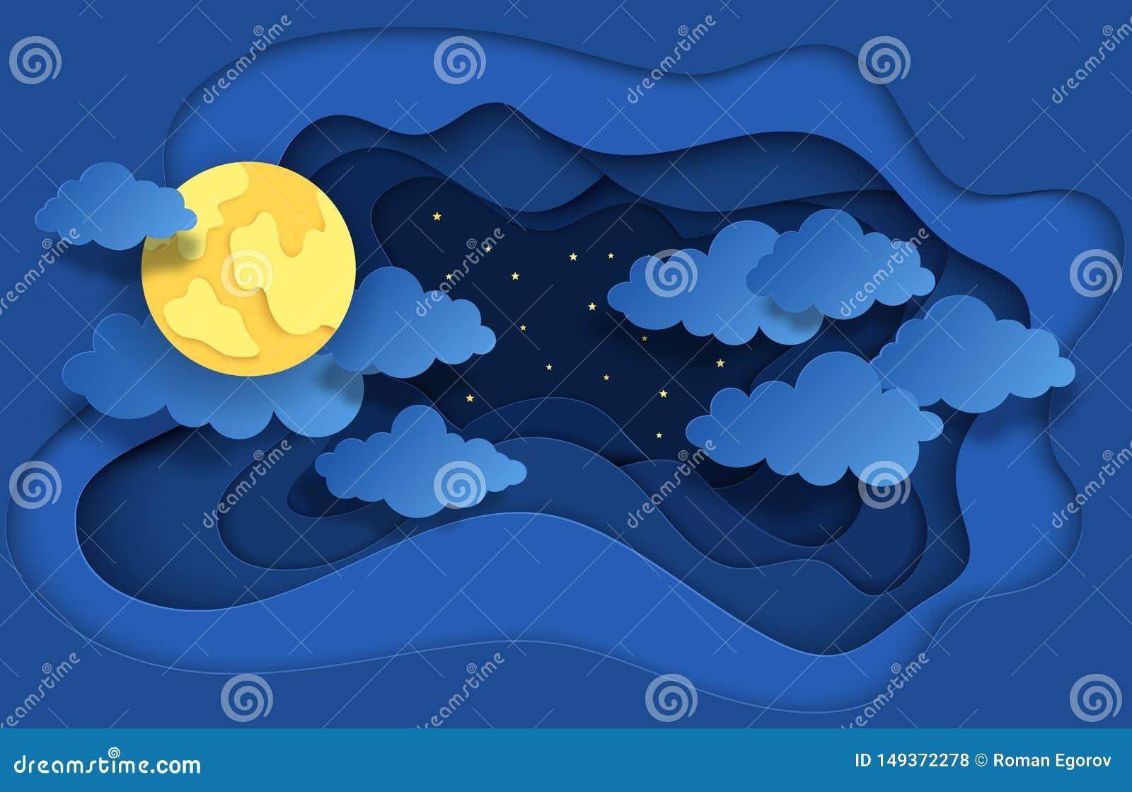 Pappers- klippt natthimmel Drömlik bakgrund med månestjärnor och moln, abstrakt fantasibakgrund Vektororigamibakgrund