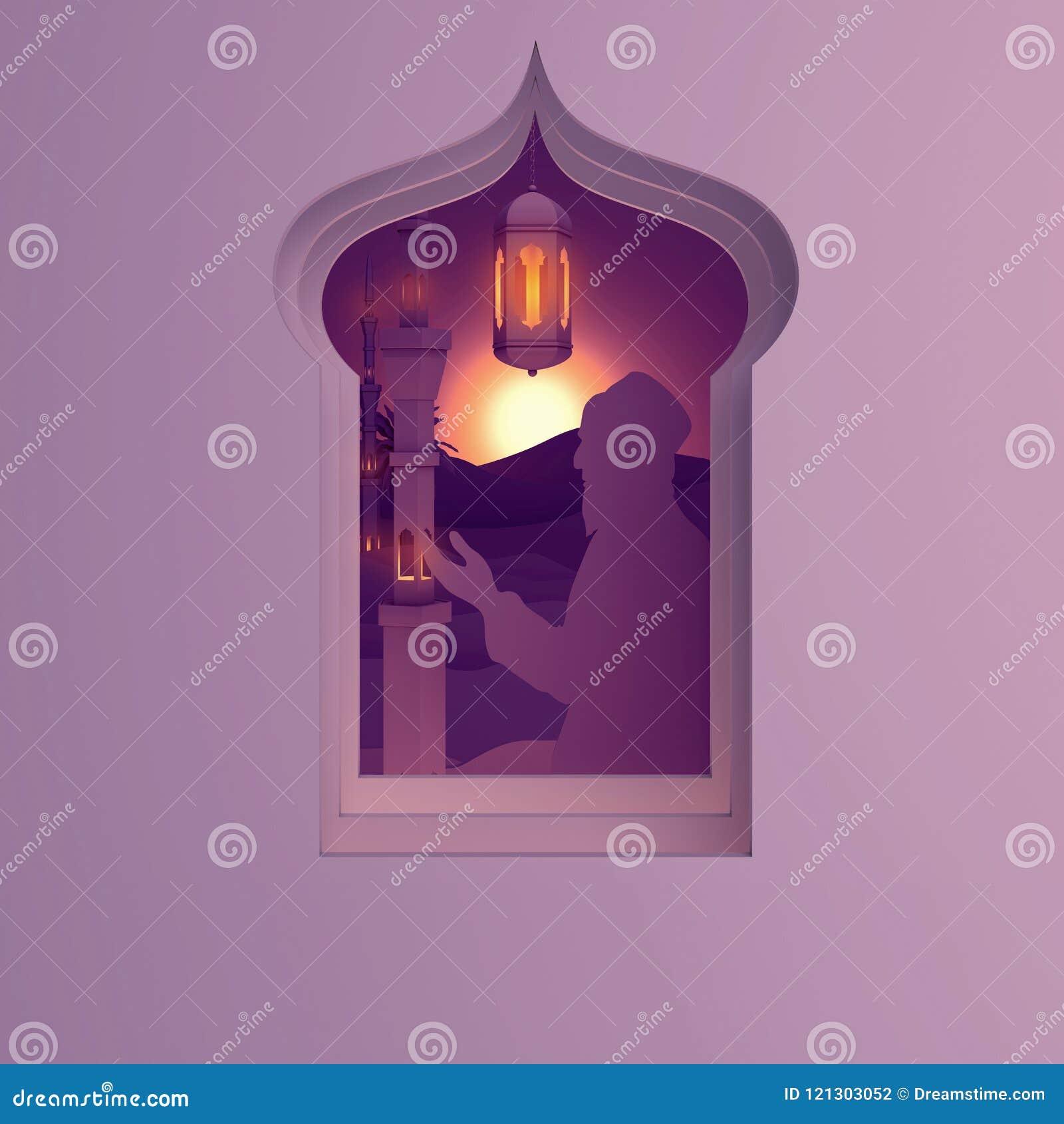 Pappers- konstsikt från arabiskt fönster av solnedgångöknen med moskén, folk som ber, lyktan och palmträdet