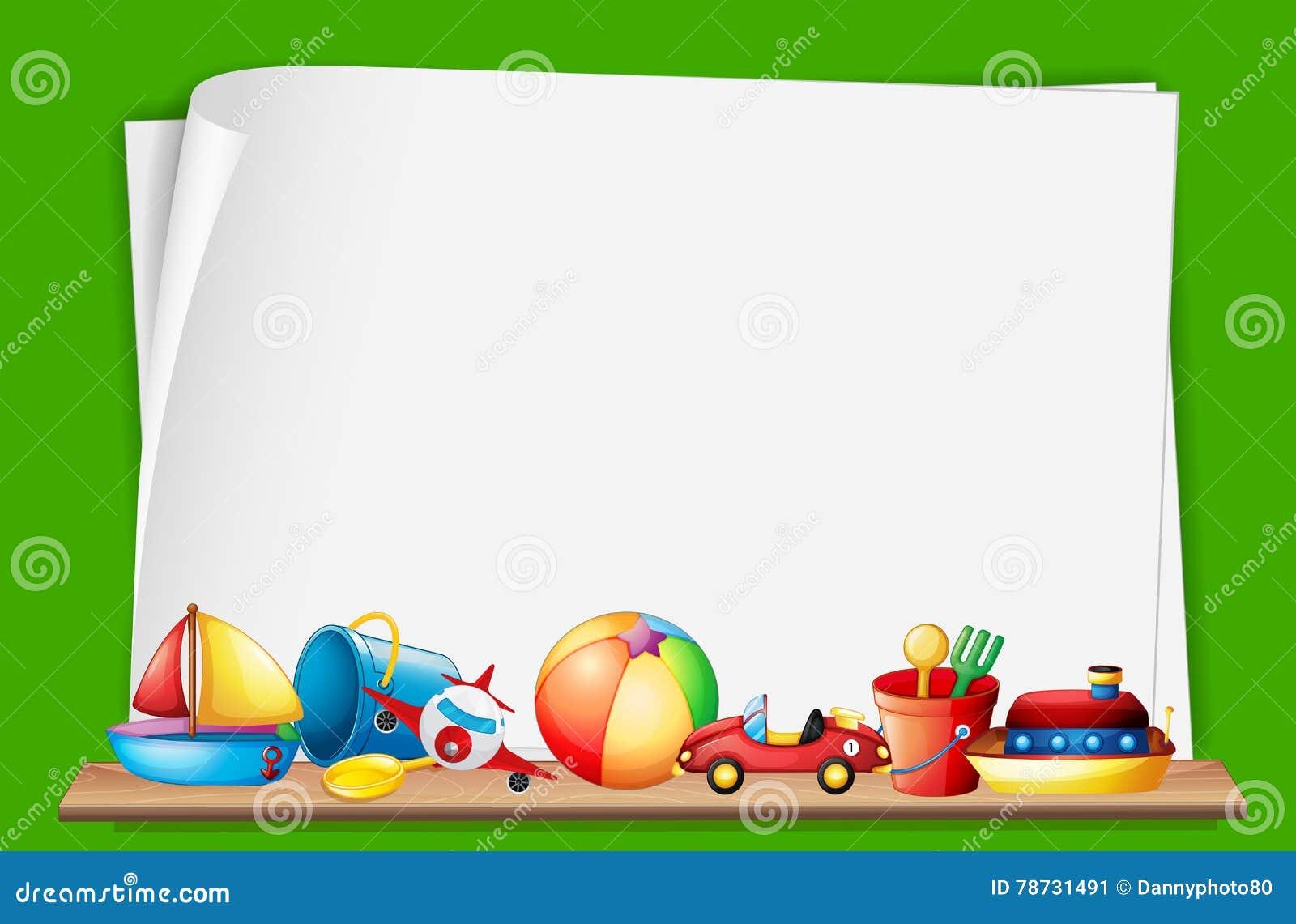 Pappers- mall med leksaker i bakgrund