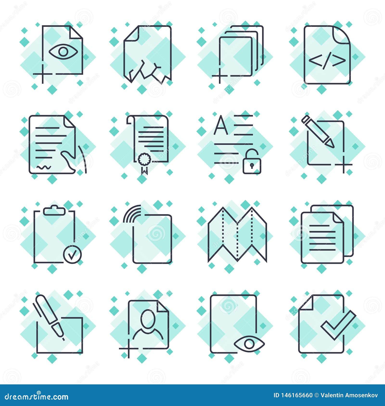 Pappers- symboler, dokumentsymboler, vektor EPS10 Redigerbar slagl?ngd