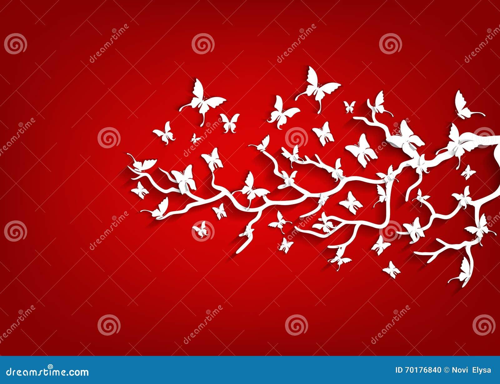 Pappers- träd och fjärilar på röd bakgrund