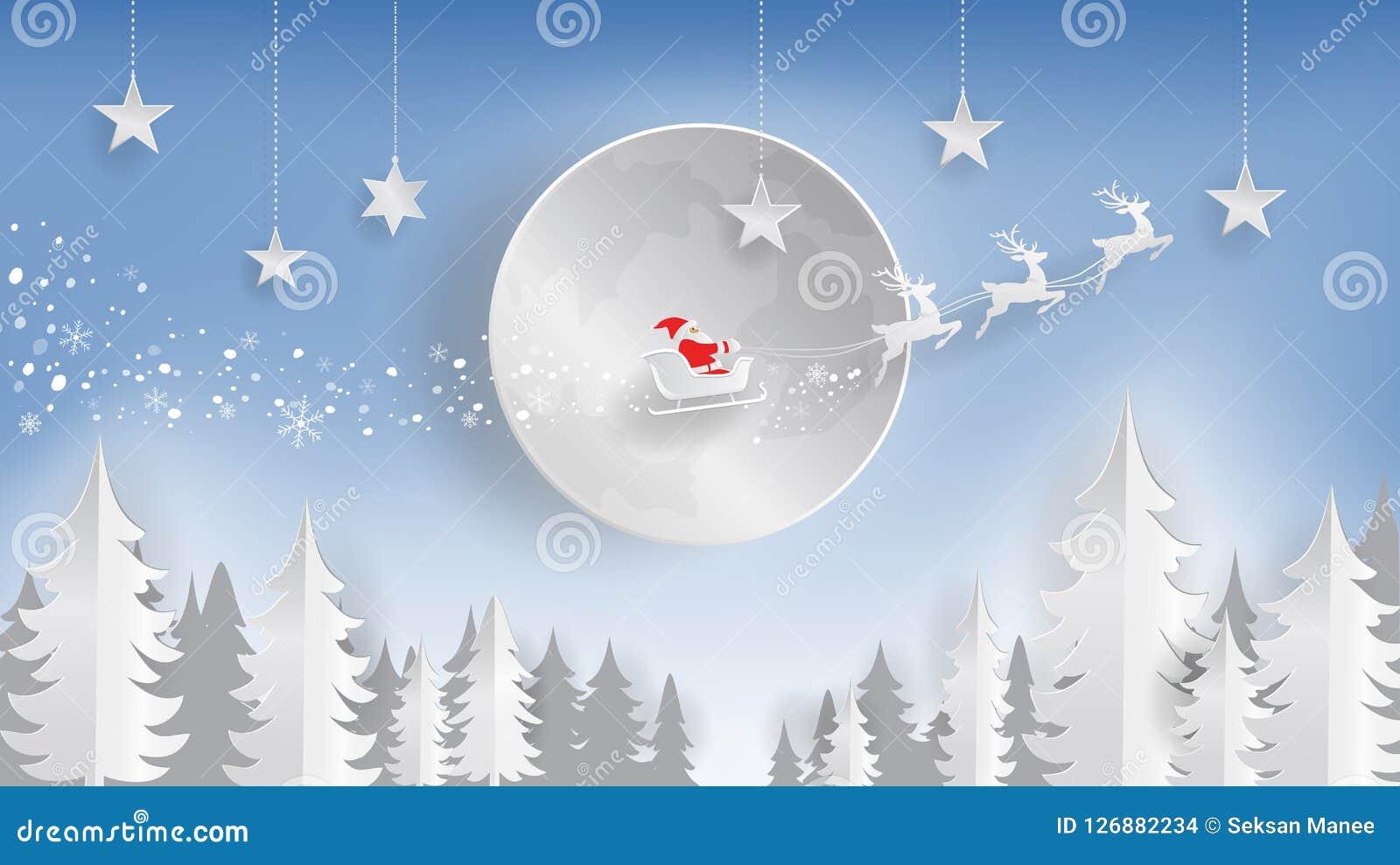 Papperssnitt, glad jul och lyckligt nytt år, Santa Claus och ren som flyger över månen