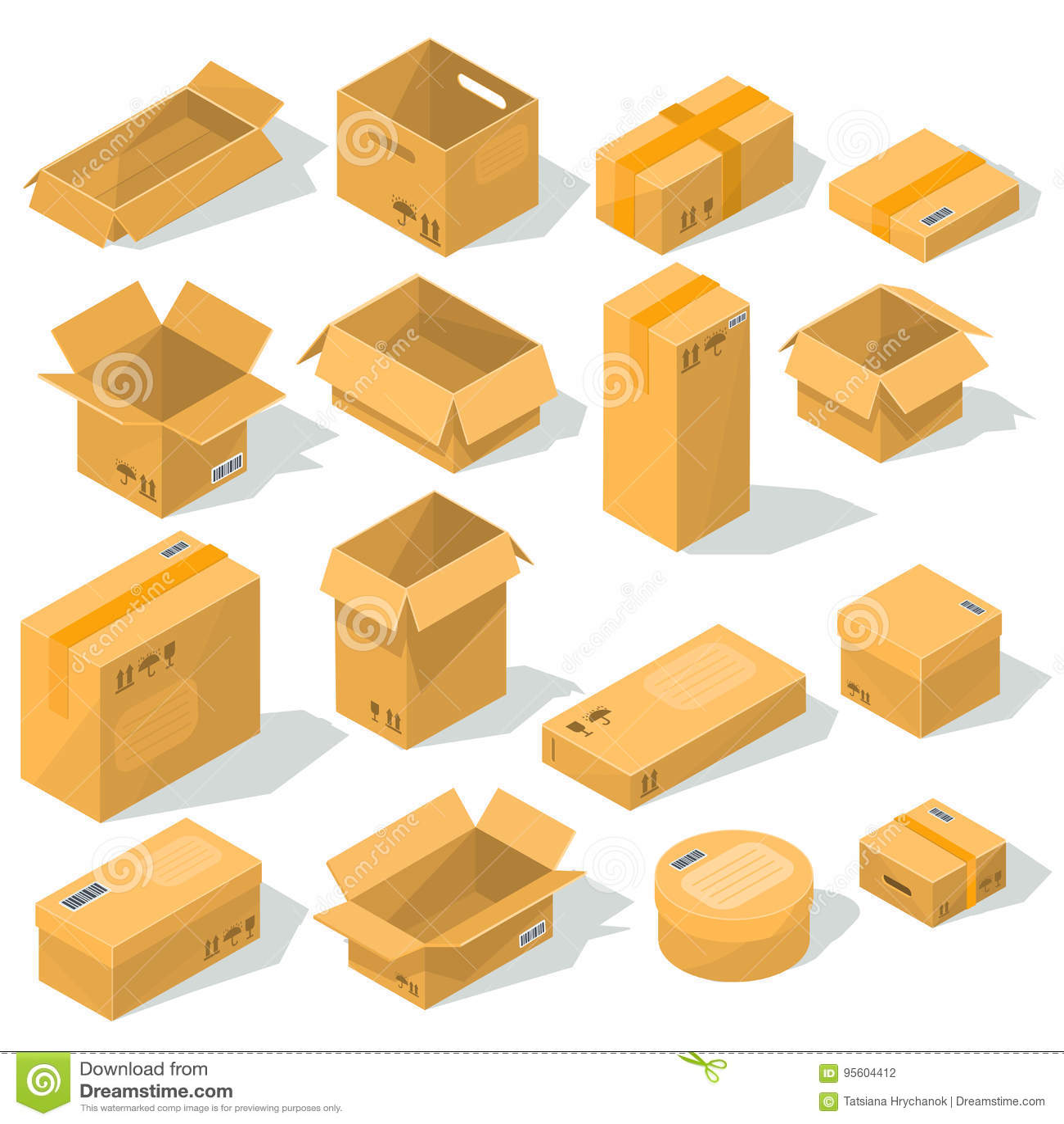 Pappschachteln verschiedene Formen und Größen mit Emblemen von Zerbrechlichkeit auf ihnen