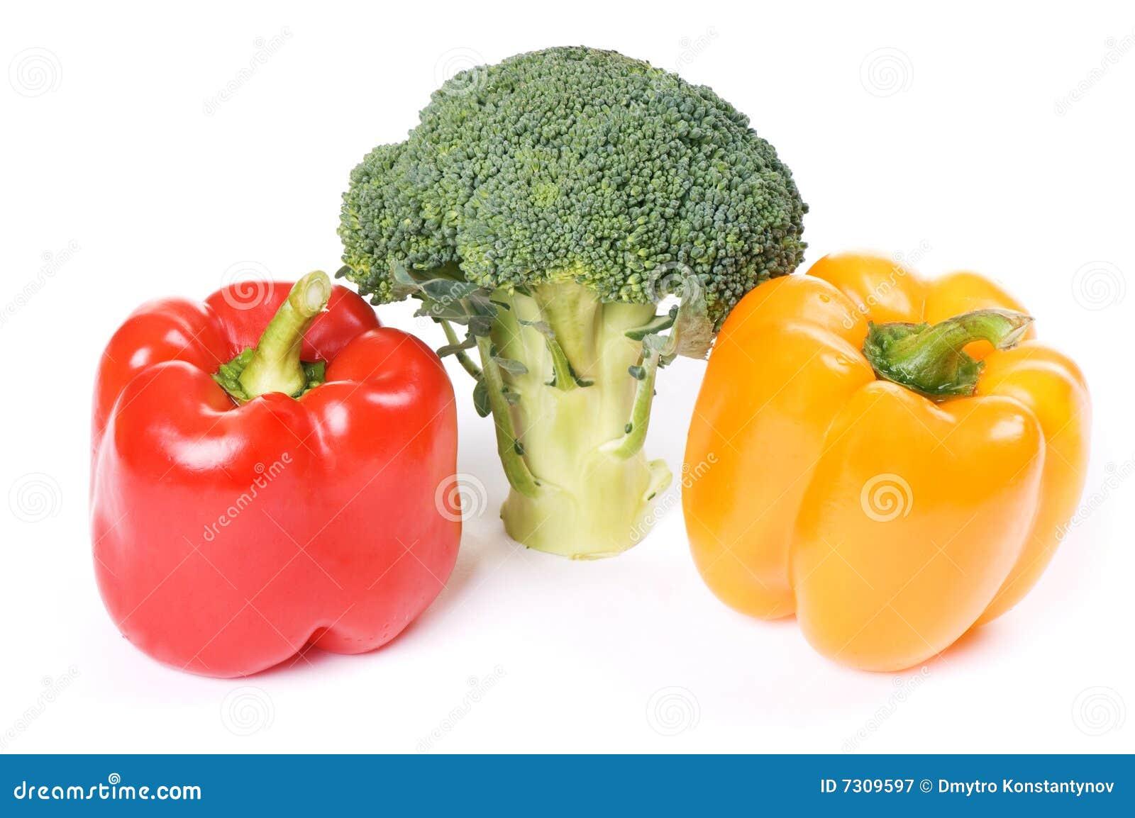 Download Paprica Rossa Ed Arancione Con Broccolo Immagine Stock - Immagine di cottura, alimentazione: 7309597