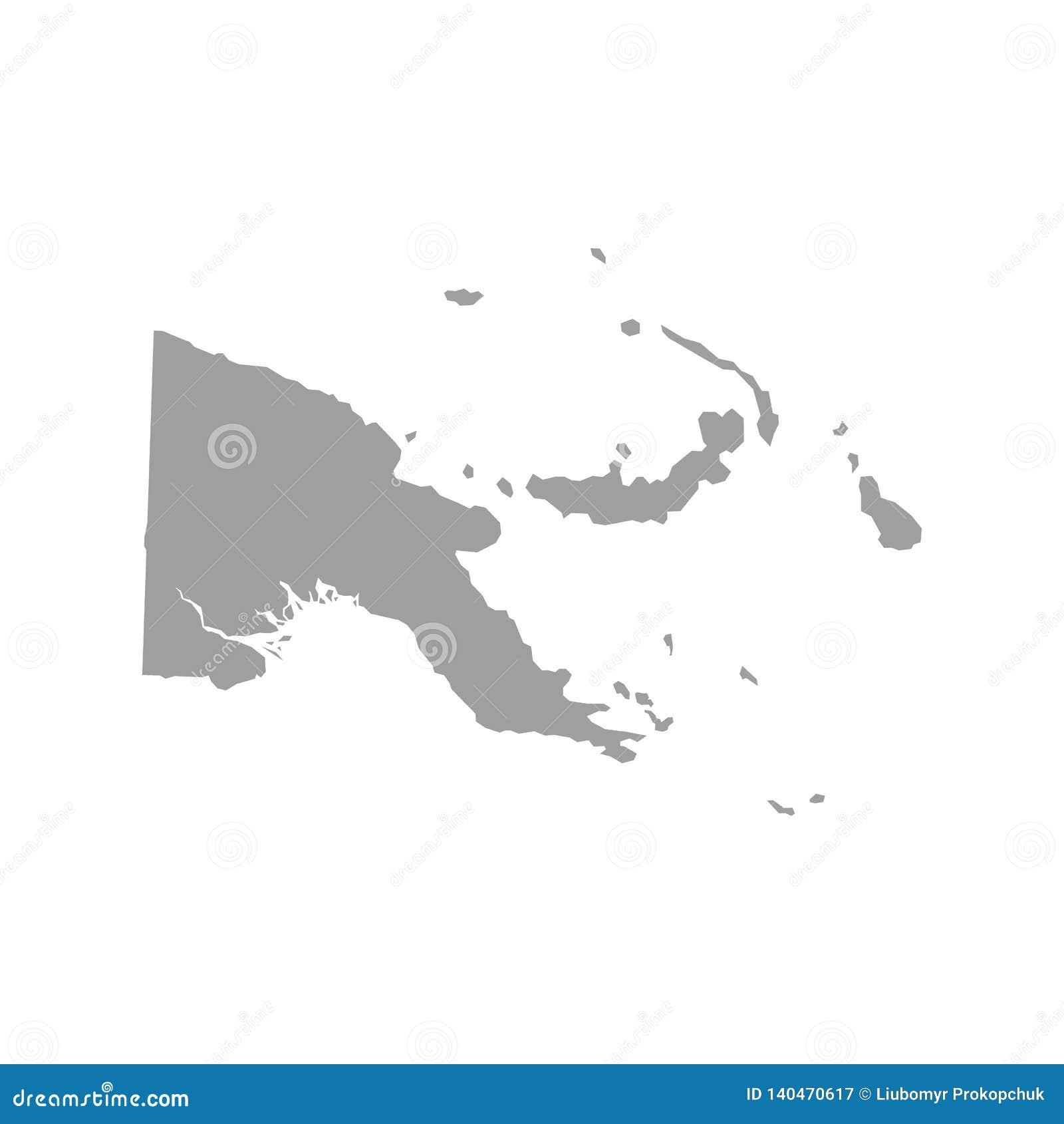 Papua-Neu-Guinea Karte im Grau auf einem weißen Hintergrund