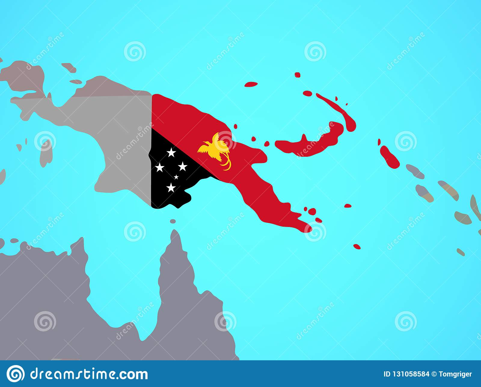 Papua New Guinea With Flag On Map Stock Illustration Illustration