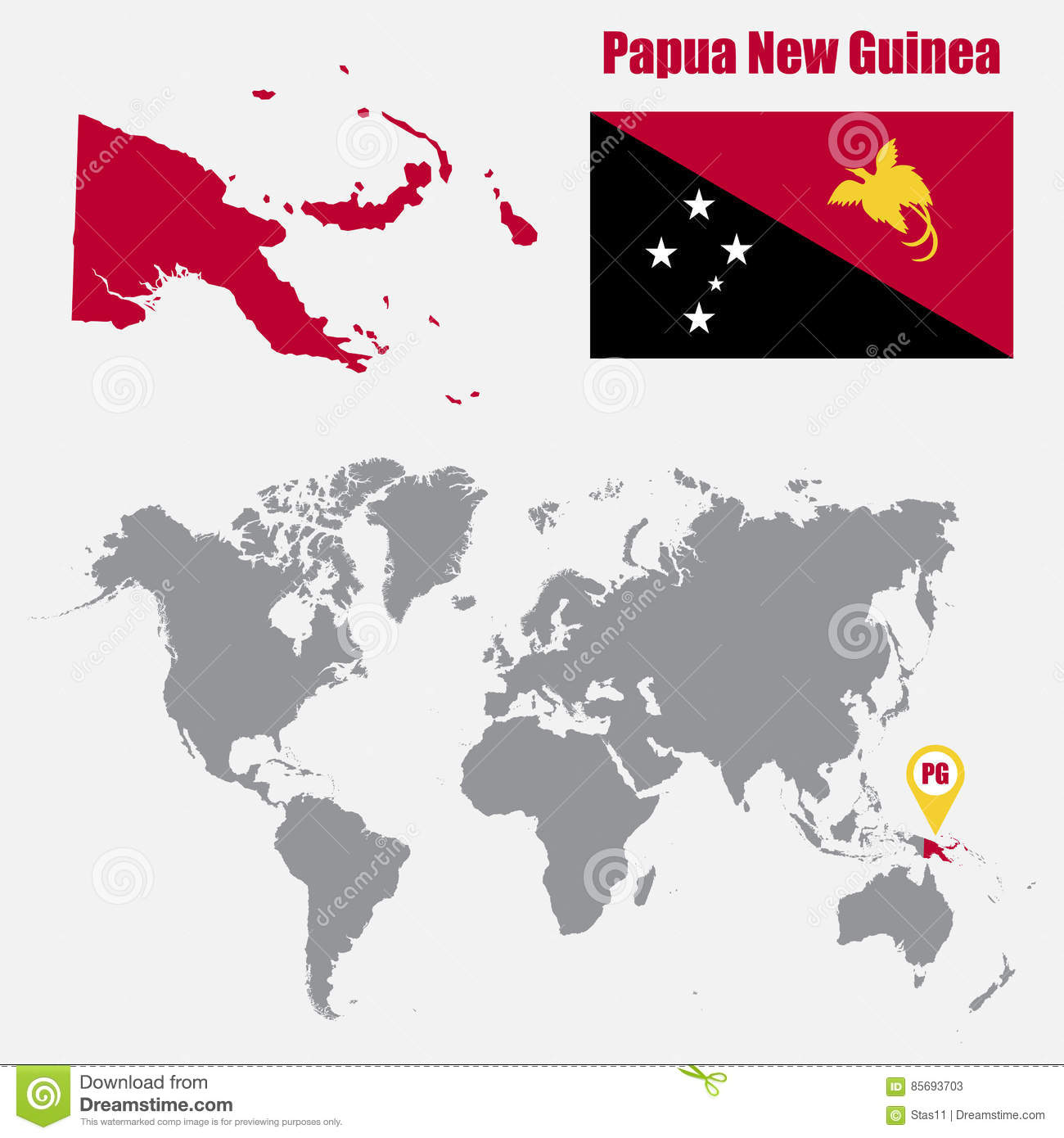Papua New Guinea Map On A World Map With Flag And Map Pointer ...