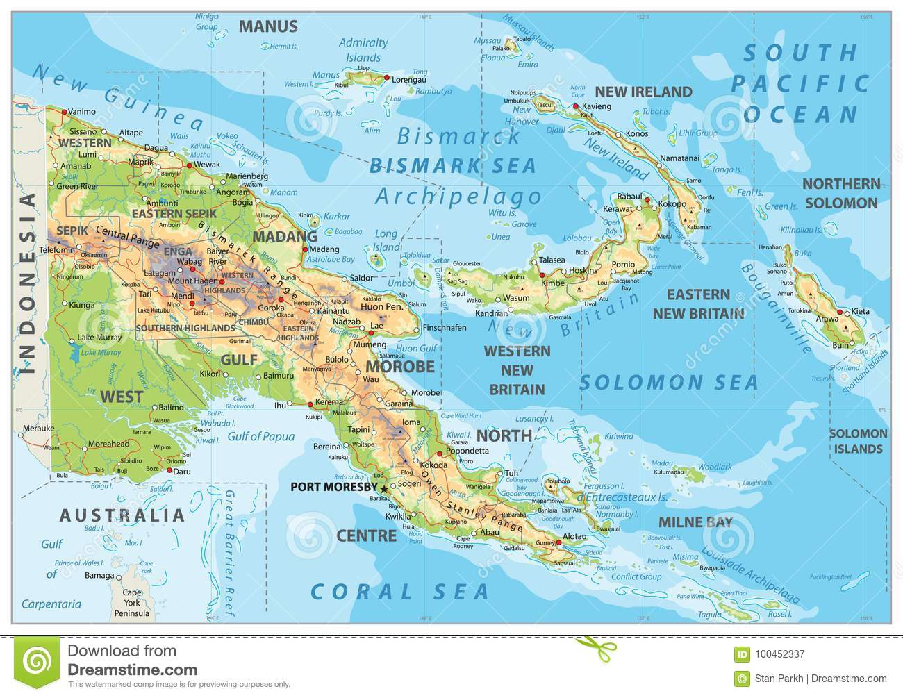Papua New Guinea Physical Map Stock Vector - Illustration of ... on