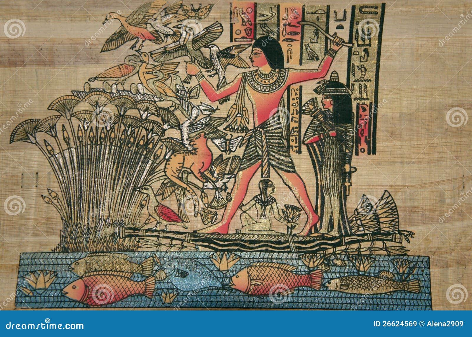 Papyrus égyptien antique. Le dieu égyptien antique