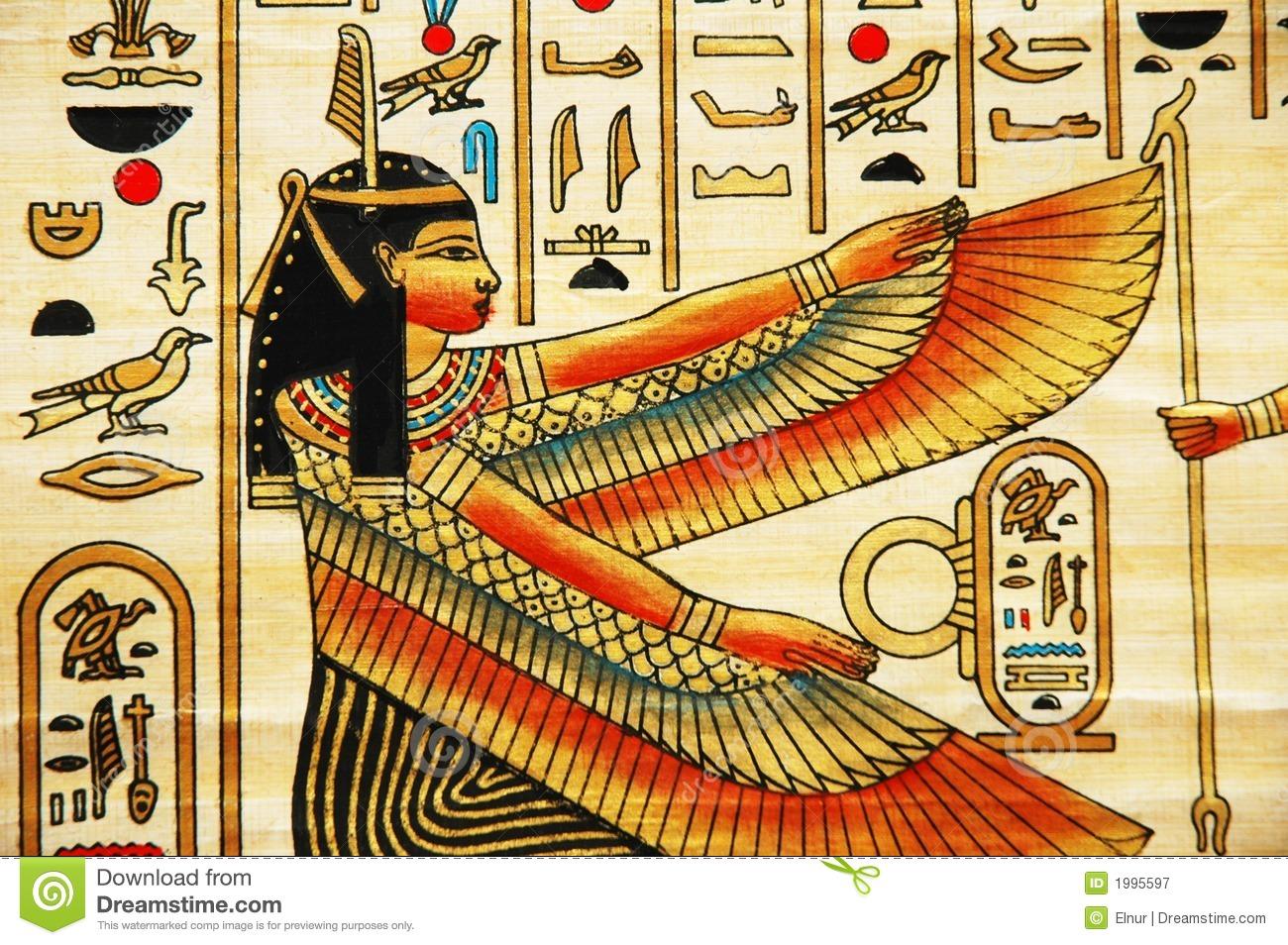 Papyrus With Elements Of Egyptian Ancient History Royalty Free Stock ...