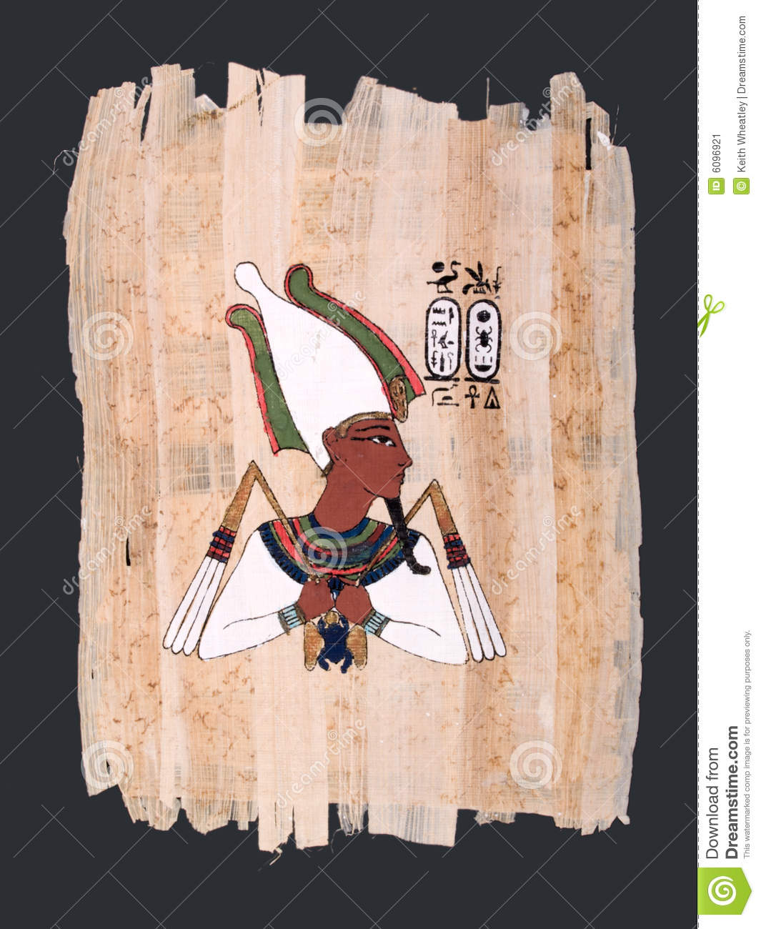 Papyrus painting of ancient egyptian god osiris stock for Egyptian fresco mural painting