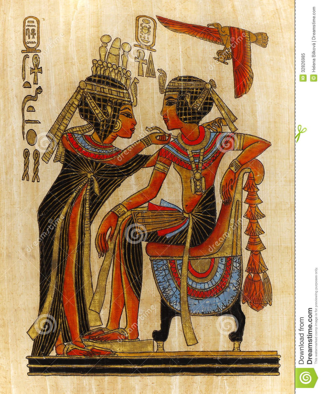 Papyrus painting pharaoh and queen royalty free stock for Ancient egyptian mural paintings