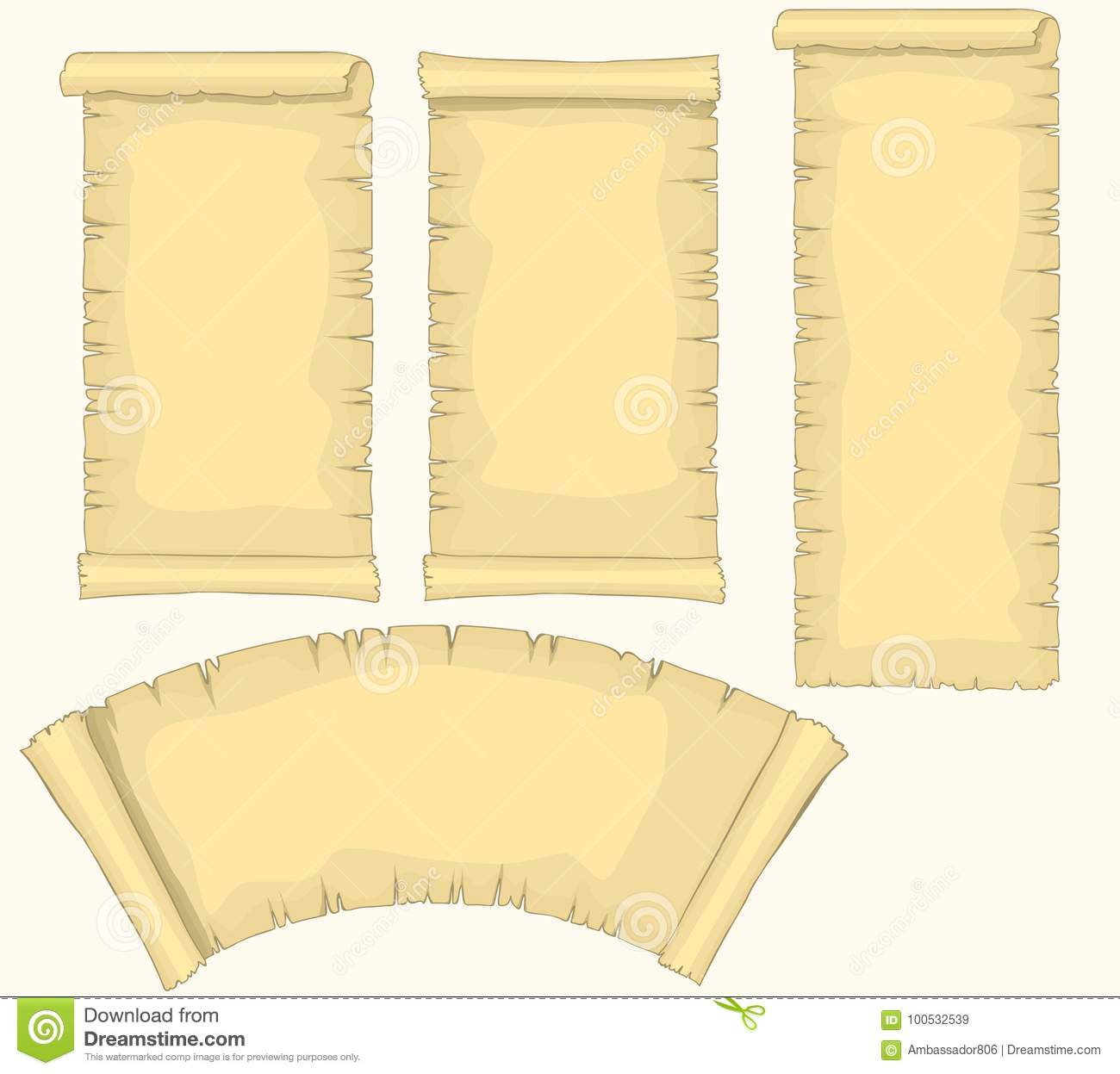 papyrus scrolls set aged blank paper scroll medieval yellowish