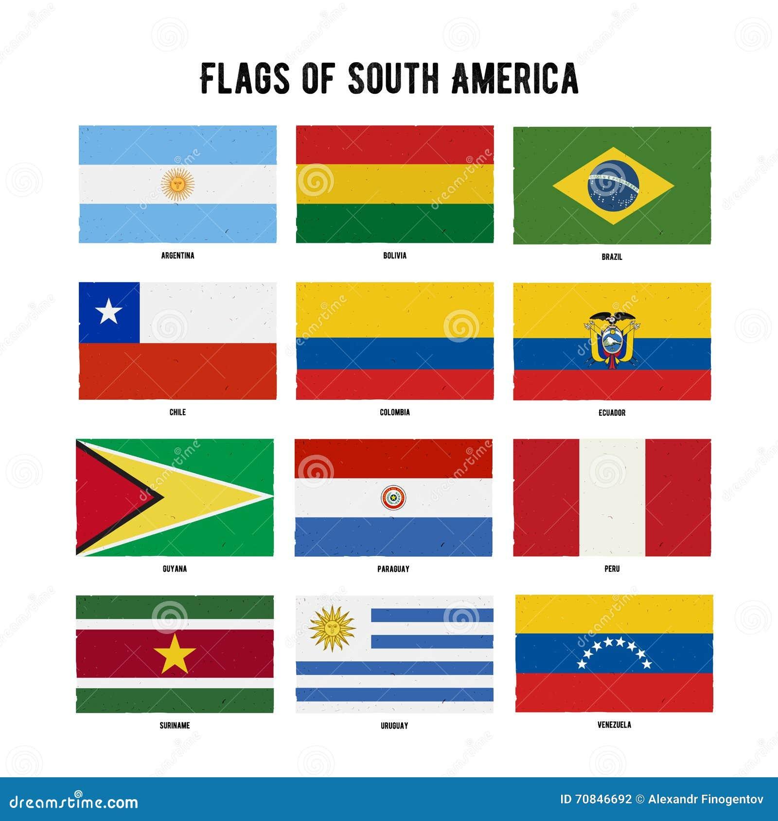 Paquet continent de drapeau de l 39 am rique du sud drapeaux ray s tir s par la main avec une - Drapeau de l amerique ...
