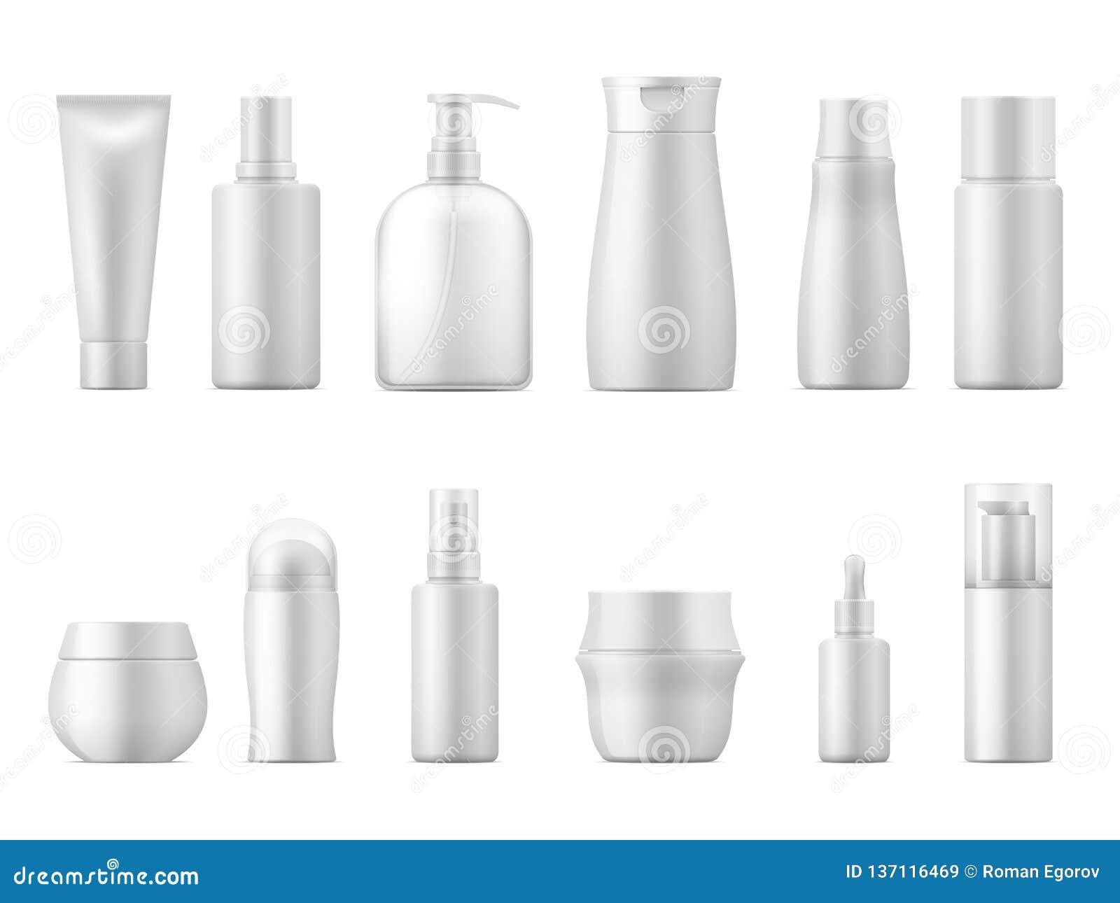 Paquet cosmétique réaliste Paquet vide de lotion du paquet 3D de bouteille de produit de tube de shampooing de blanc en plastique
