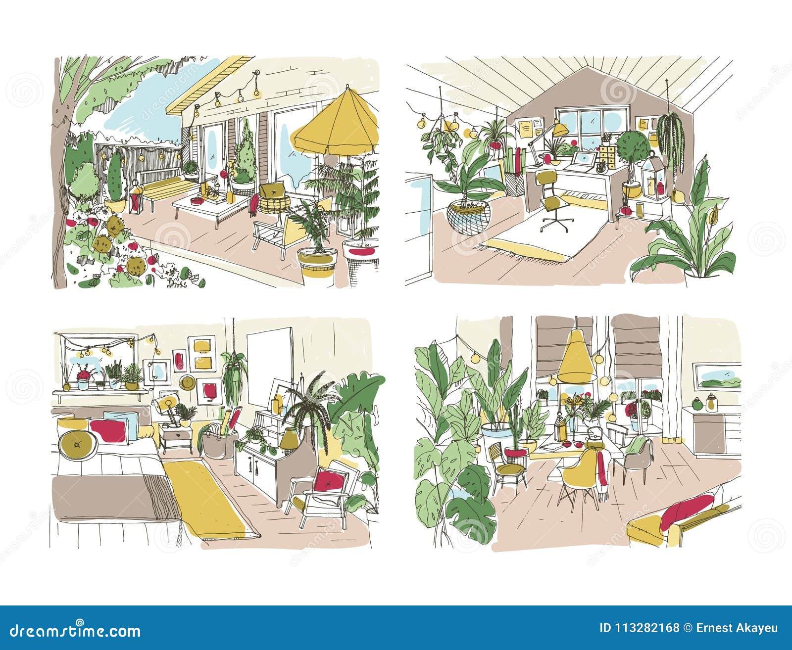 Paquet de croquis gratuits colorés de la maison ou de l appartement meublé dans le style scandinave Ensemble de salles complèteme