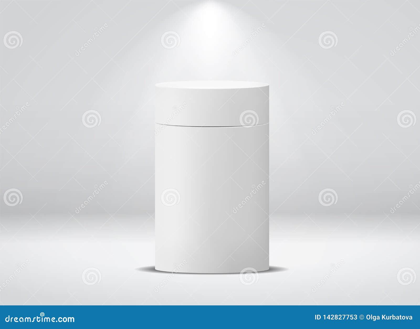 Paquet de cylindre Boîte de papier vide de rond blanc pour la maquette de boîte métallique d isolement par vecteur de café de thé