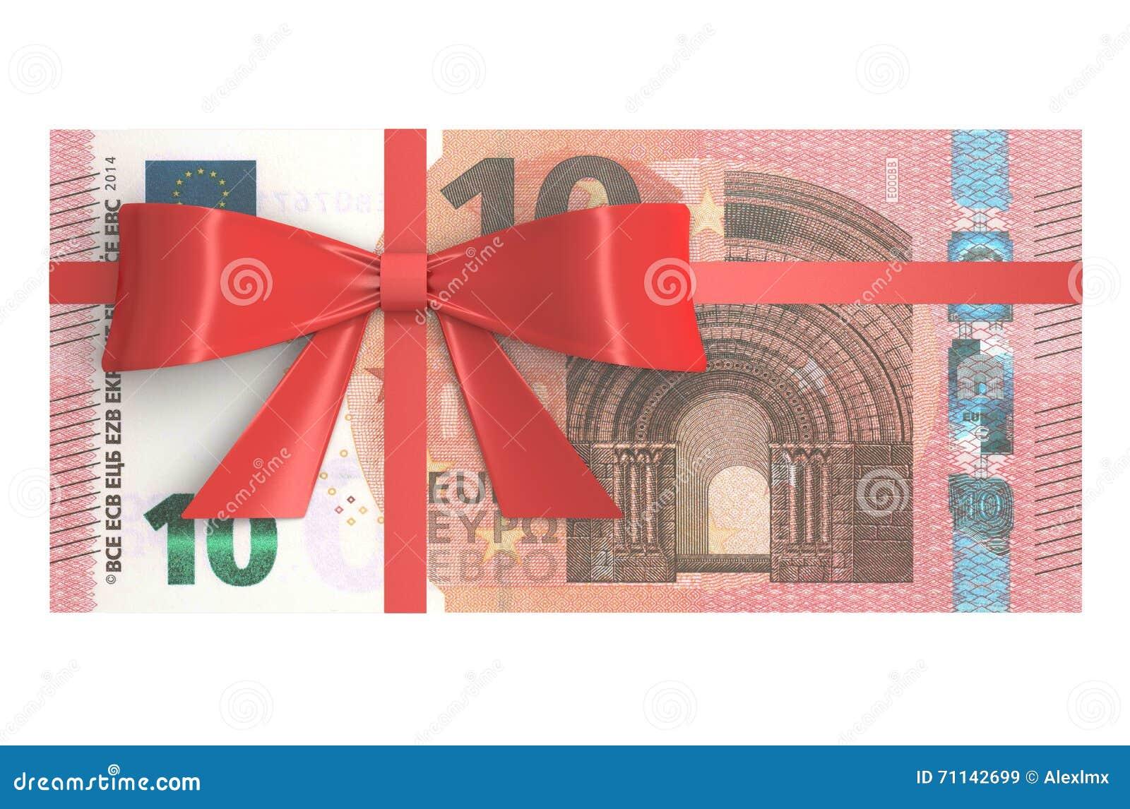 Paquet De 10 Euro Billets De Banque Avec Larc Rouge