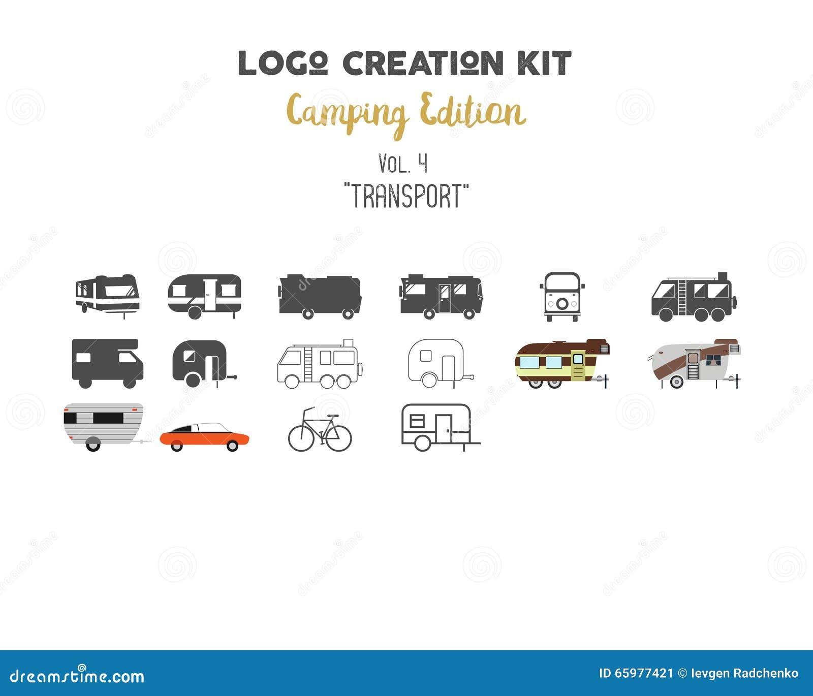 Paquet de kit de création de logo Ensemble d édition de camping Transport pour les formes de vecteur de voyage et les éléments -