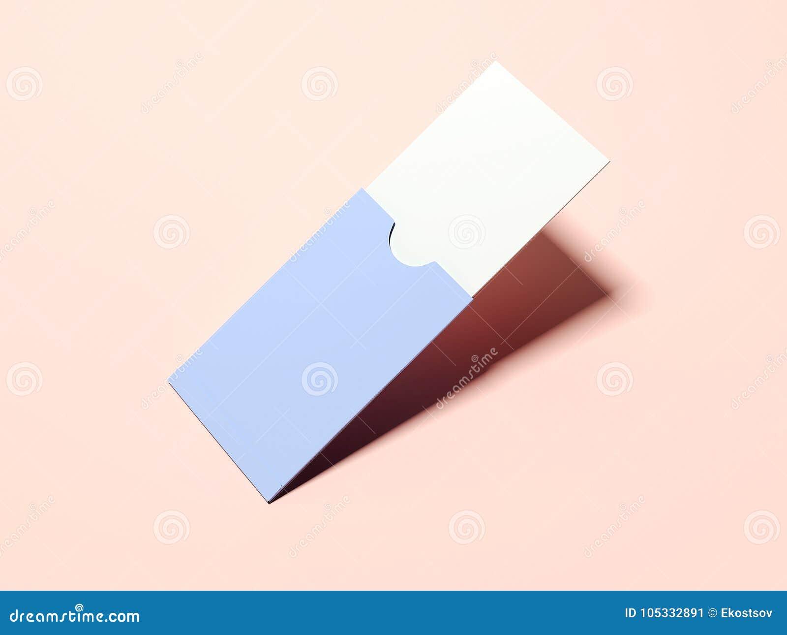 Paquet De Papier Pourpre Avec La Carte Visite Professionnelle Vierge Disolement Sur Lorange Rendu 3d