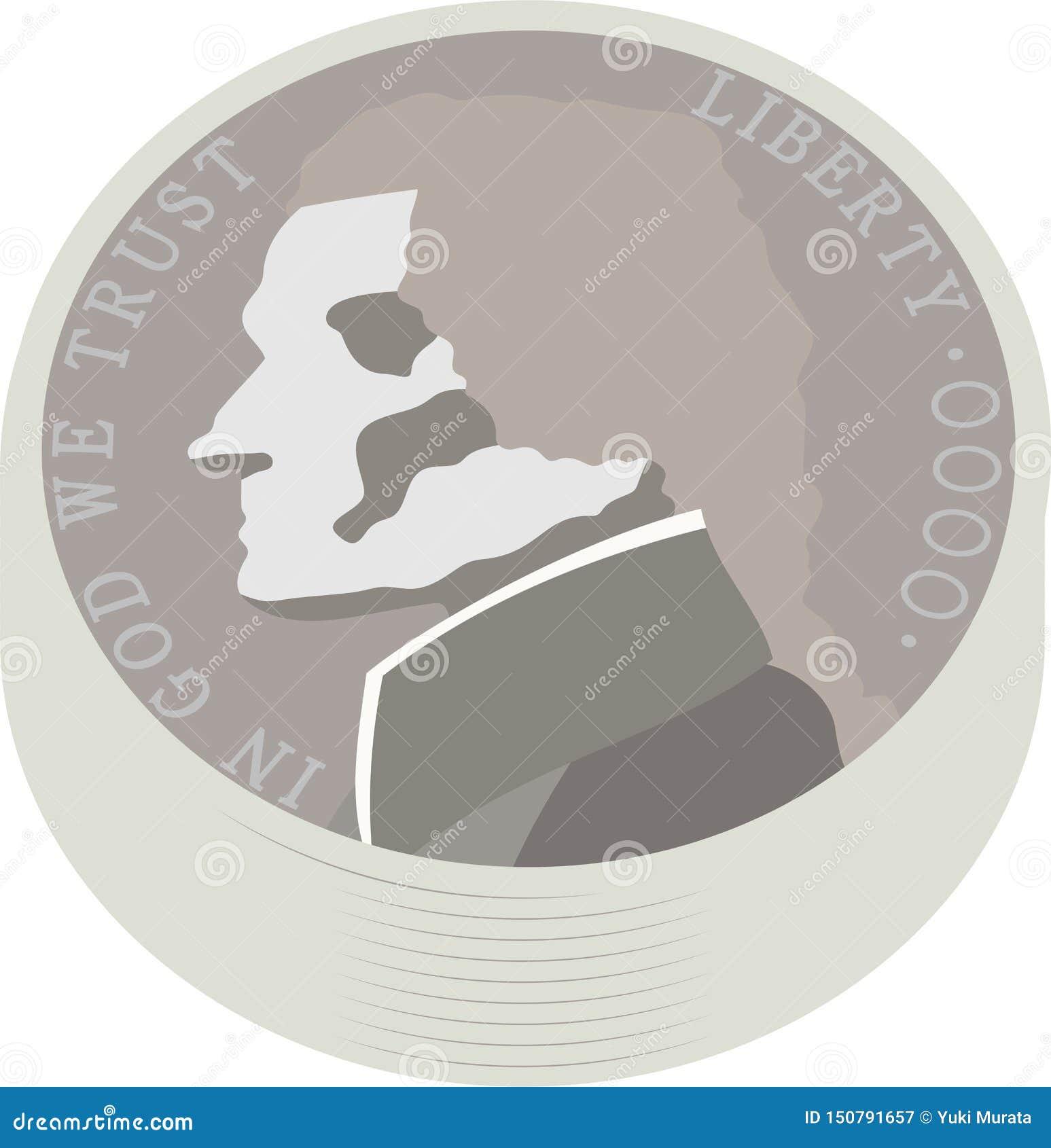 Paquet de pièce de monnaie américaine de 5 cents des USA