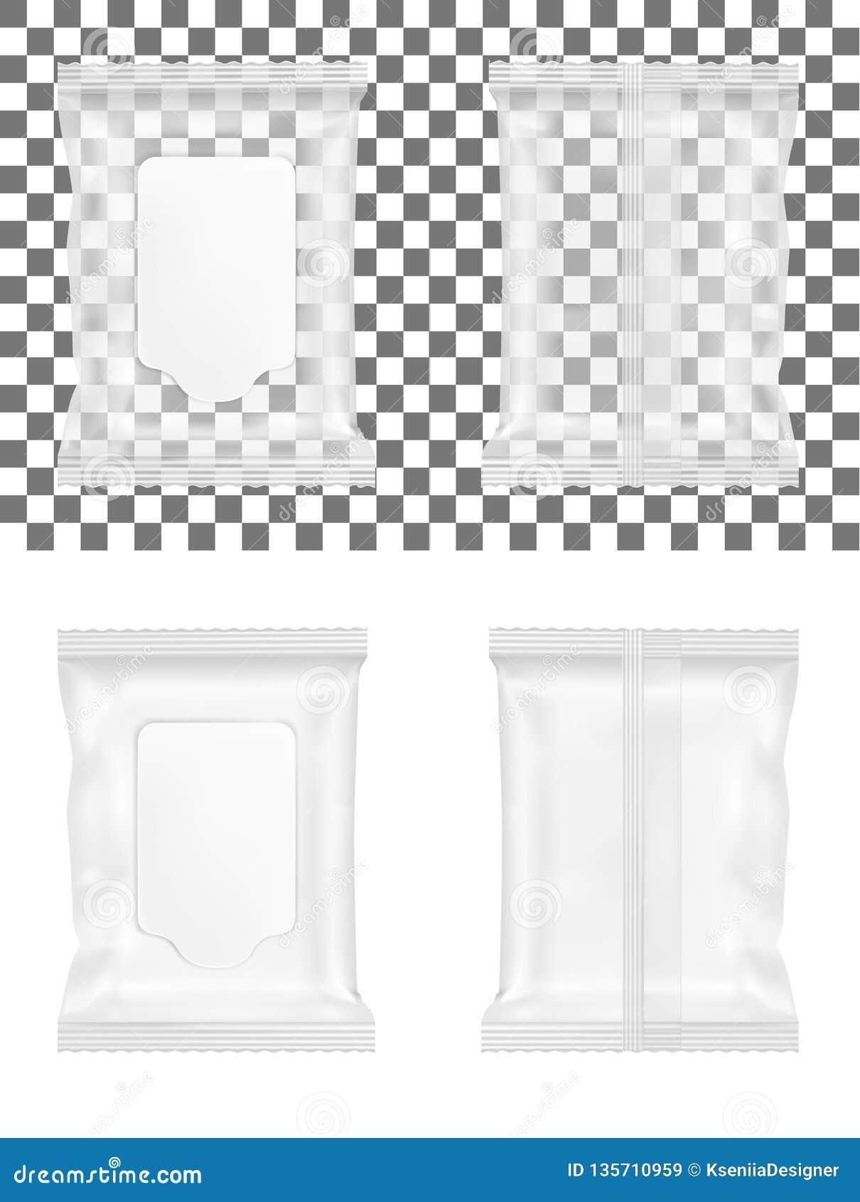 Paquet humide transparent de chiffons avec l aileron
