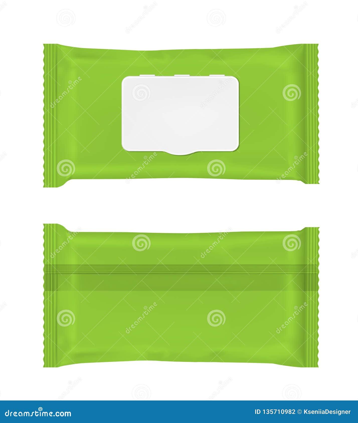 Paquet humide vert de chiffons avec l aileron