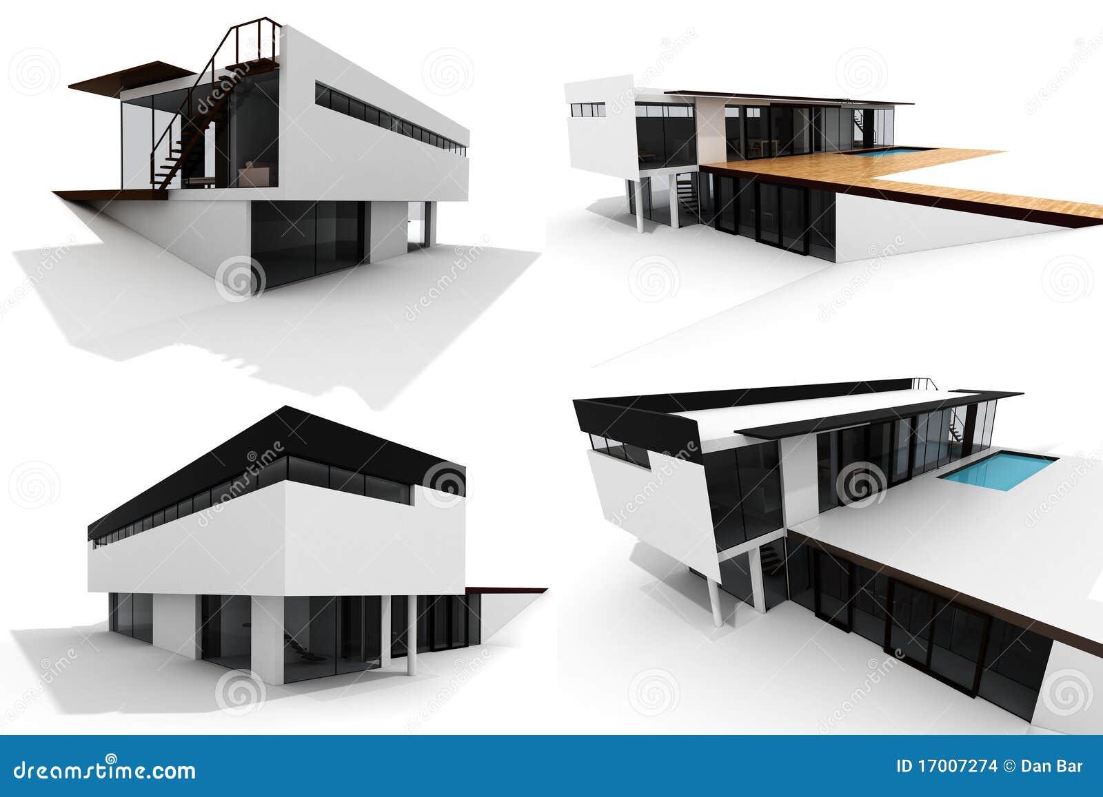 Paquet moderne de la maison 3d d 39 isolement sur le blanc for Plan 3d villa moderne