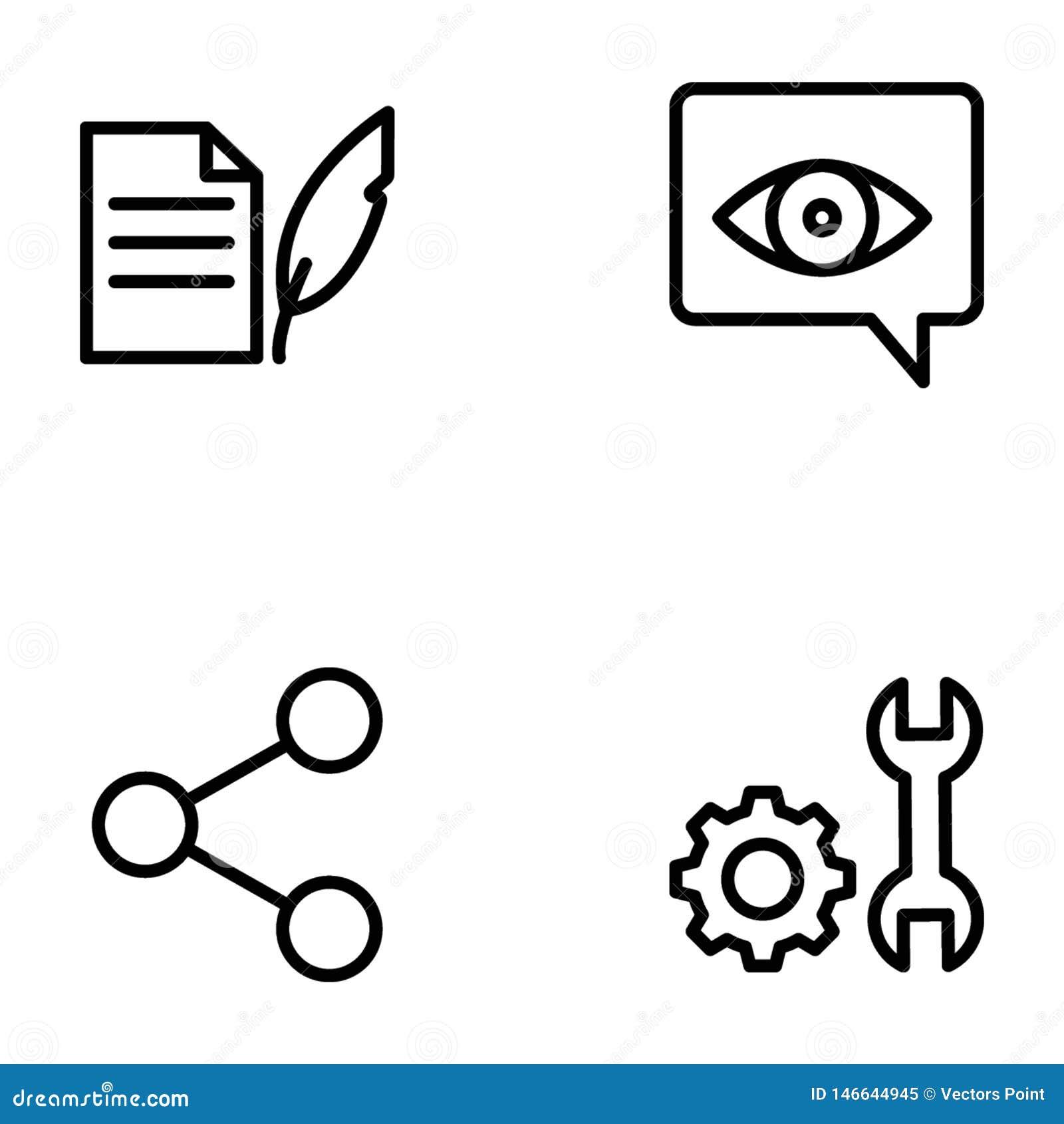 Paquete de línea vectores de Seo y de la web