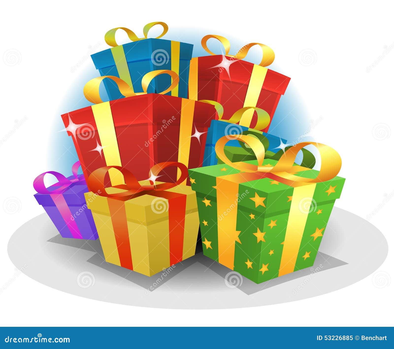 Paquete de los regalos del feliz cumpleaños