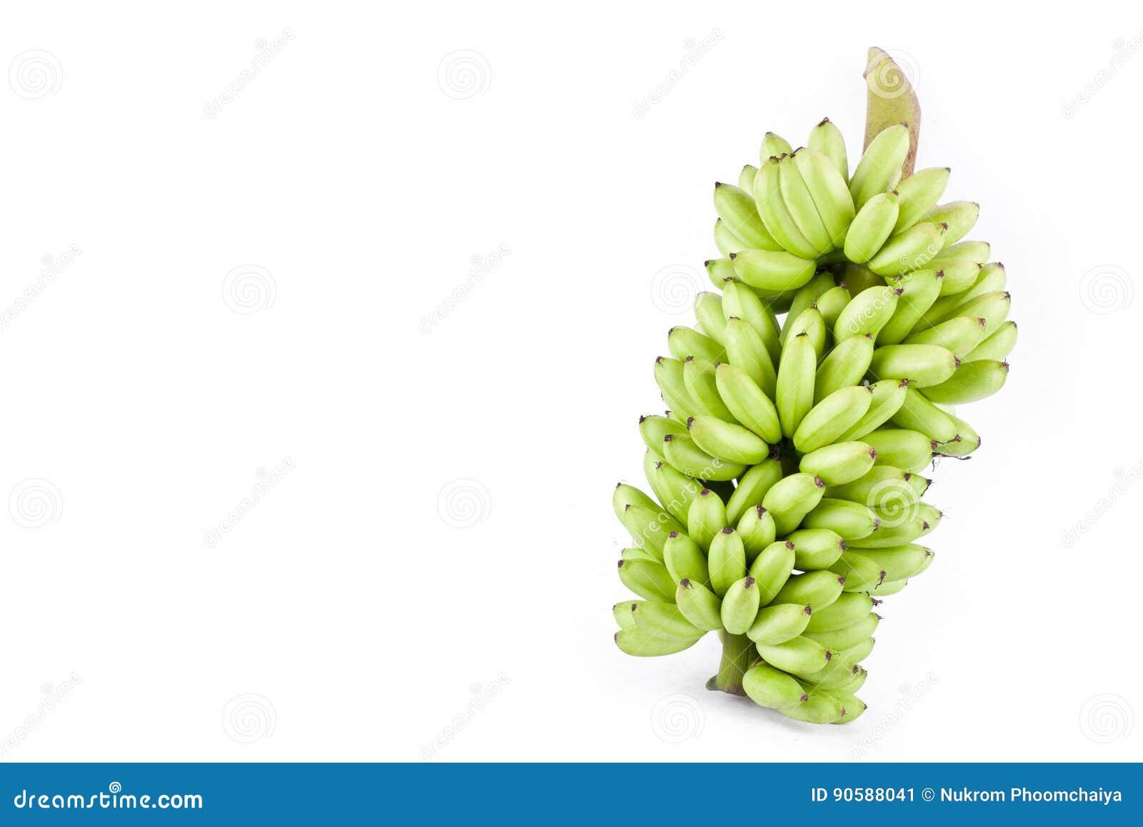Paquete de plátano crudo fresco de señora Finger en la comida sana de la fruta de Pisang Mas Banana del fondo blanco aislada