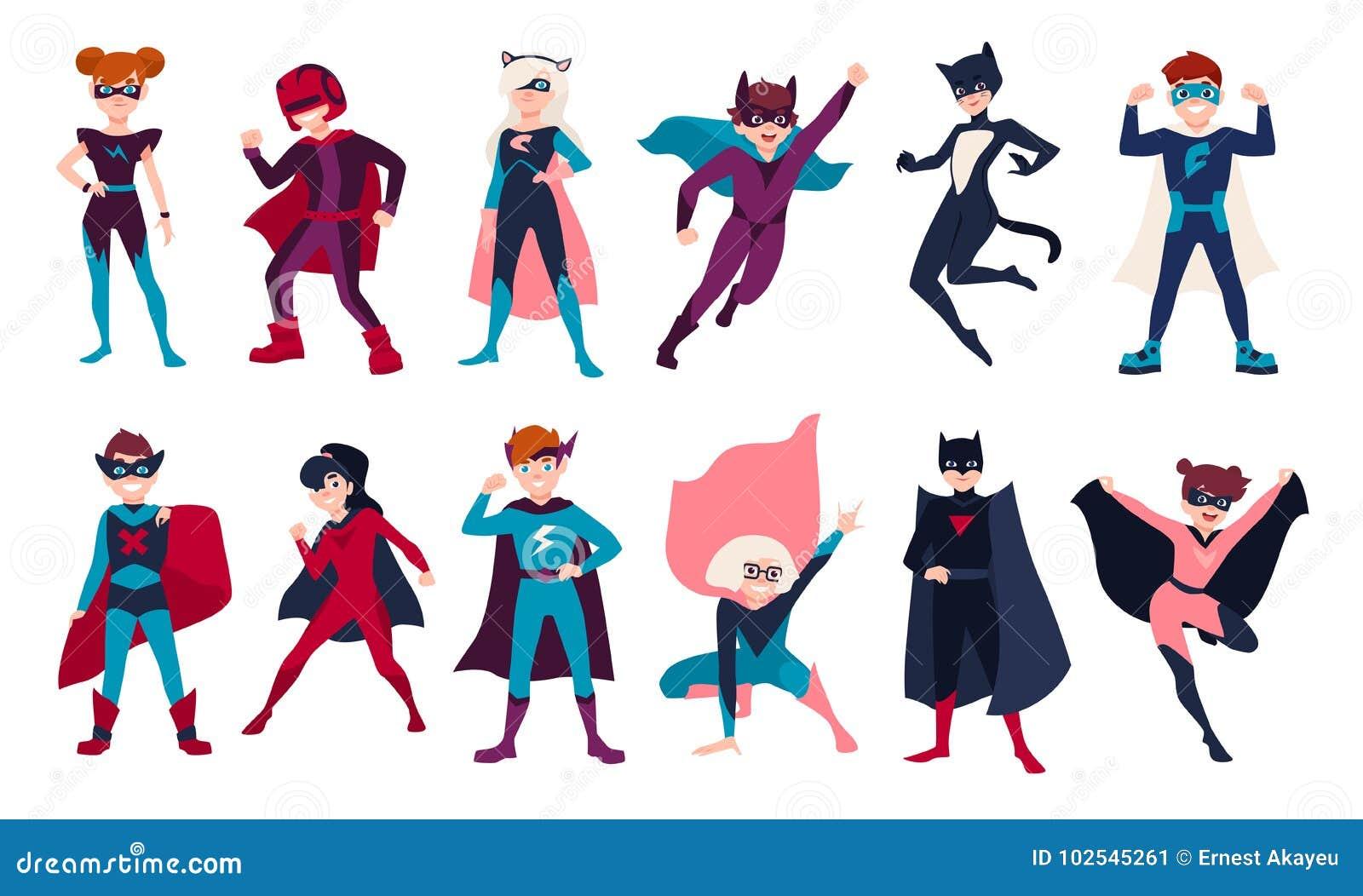 Paquete de super héroes de los niños Paquete de muchachos y de muchachas con superpoderes Sistema de historieta de los niños o de