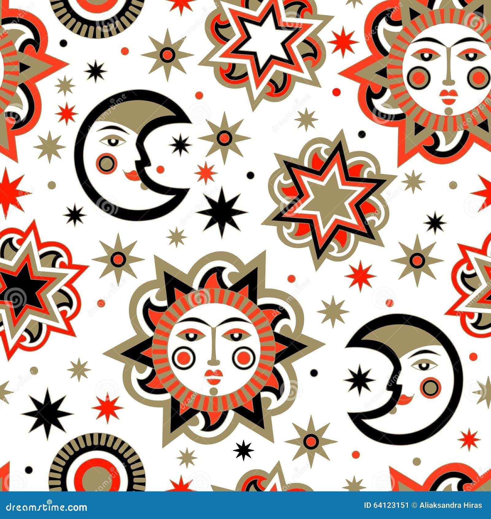 Paquete del día de fiesta con el sol y las estrellas