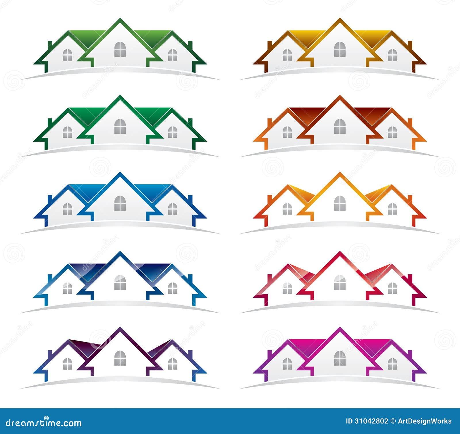 Paquete del diseño del logotipo de las propiedades inmobiliarias