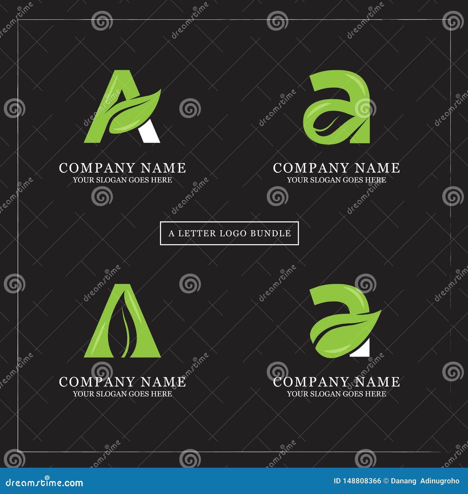 Paquete del diseño del logotipo de la letra de la hoja A de la naturaleza