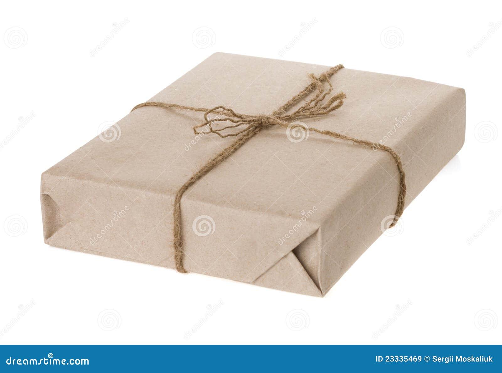 Paquete Envuelto Aislado En El Fondo Blanco Imágenes de archivo ...