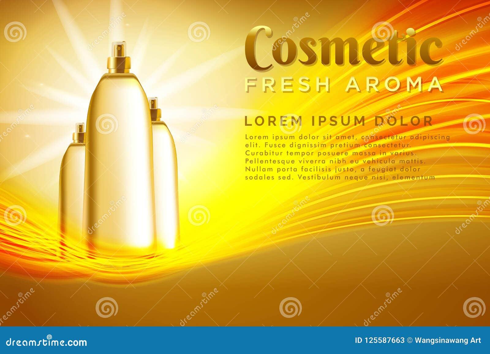 Paquete realista del cosmético de la plantilla Plantilla del producto de los cosméticos del espray para los anuncios o el fondo d