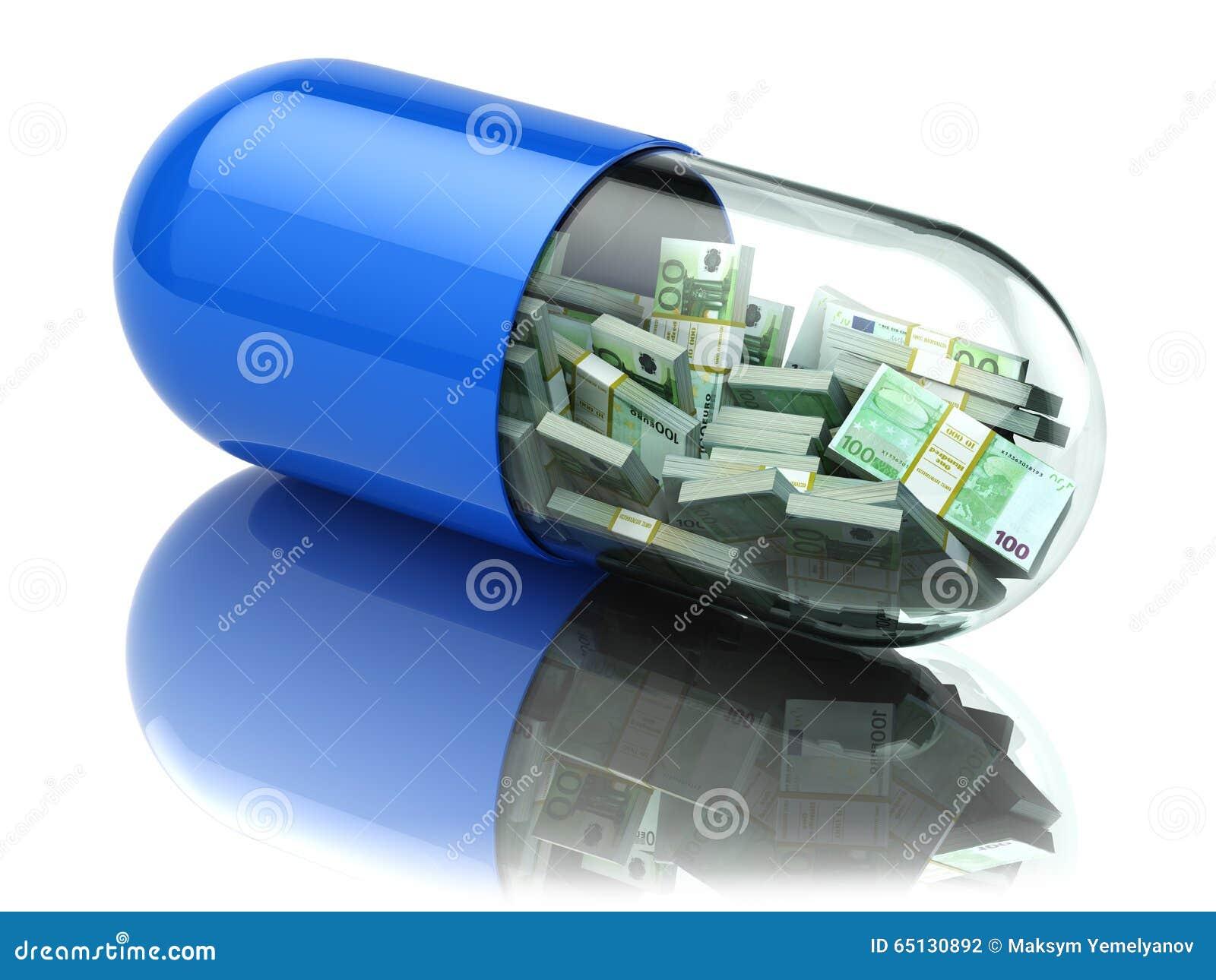 Paquets d euro dans la capsule, pilule Coûts de soins de santé ou a financier