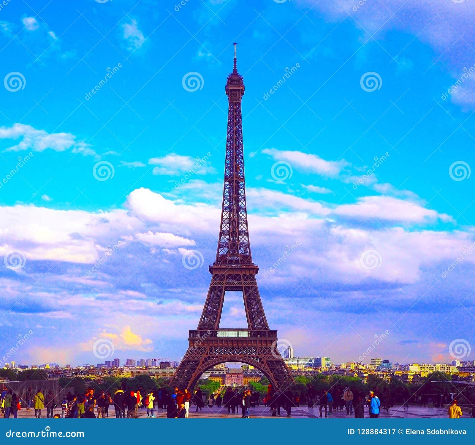Paris Francia 27 De Abril De 2017 Vista De La Torre De Effel Del