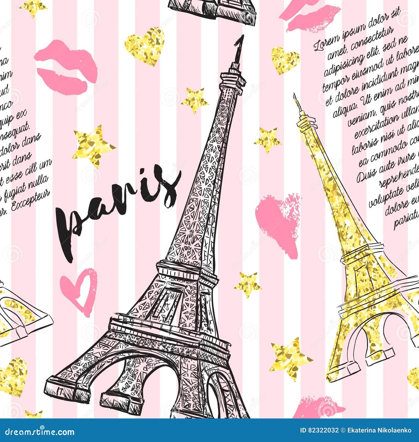 París Modelo inconsútil del vintage con la torre Eiffel, besos, corazones y estrellas con textura de oro de la hoja del brillo en