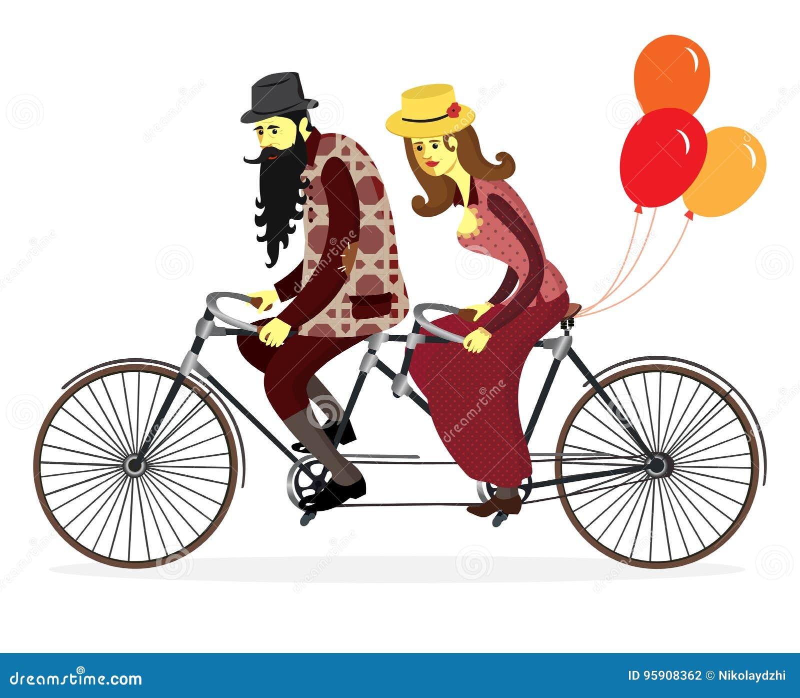 Par av cyklister på den tandema cykeln med ballonger Vektor Illust