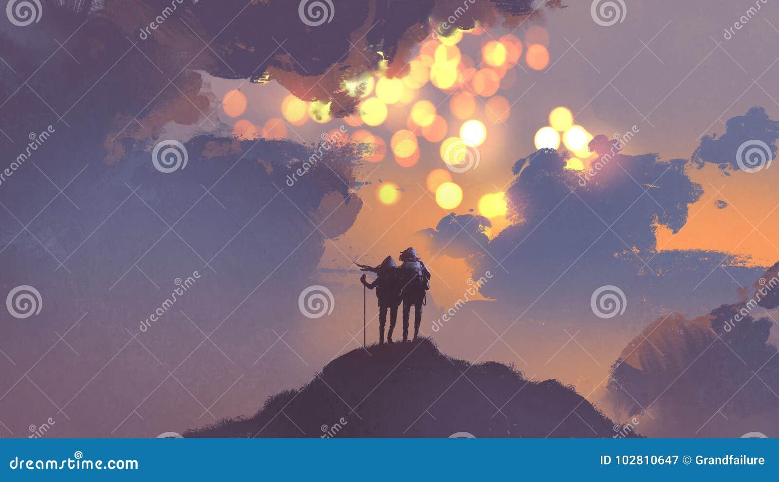 Par av fotvandrare som ser många solar i himlen