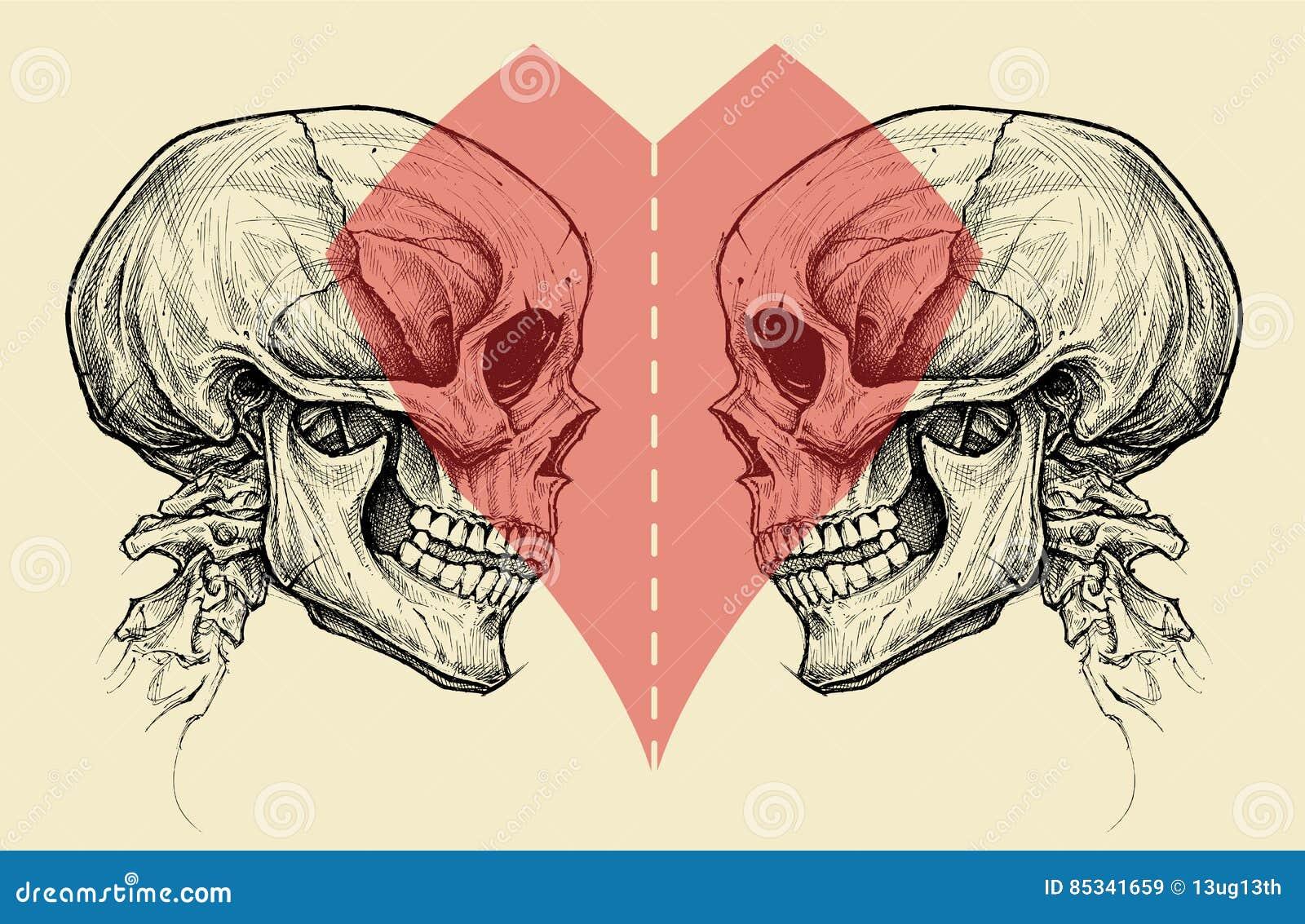 Par czaszki i Kierowy symbol z nożyce Ciącą linią