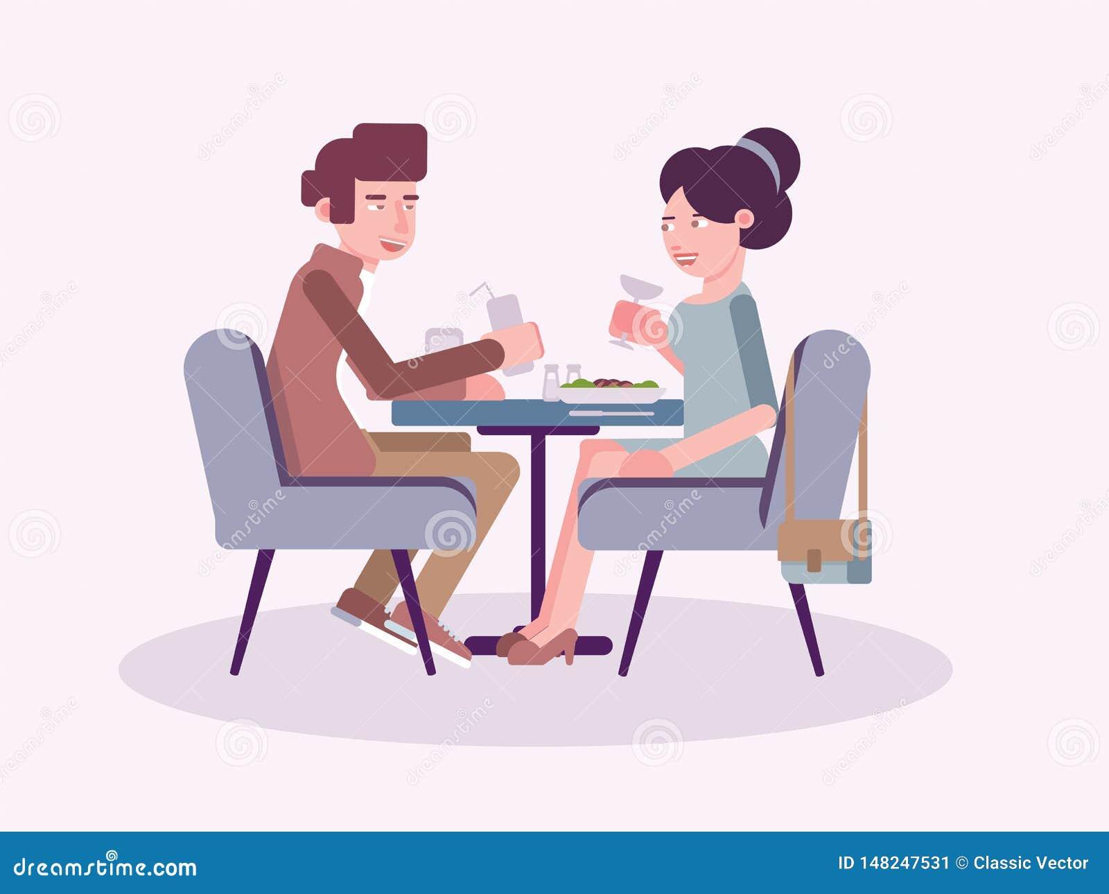 Par i plan vektorillustration för restaurang