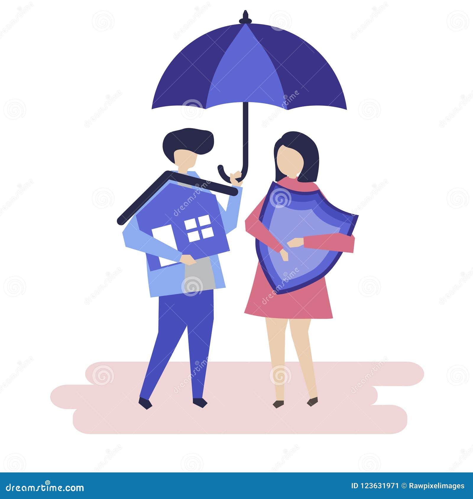 Par och en illustration för husförsäkringbegrepp