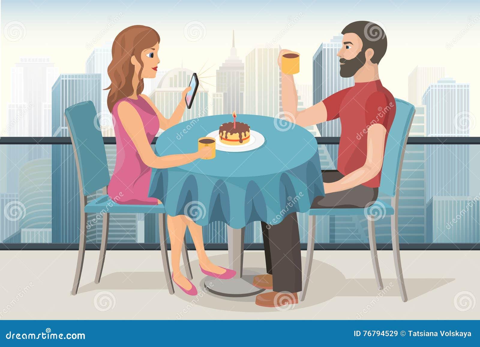 Par på ett datum i taköverkantkafé